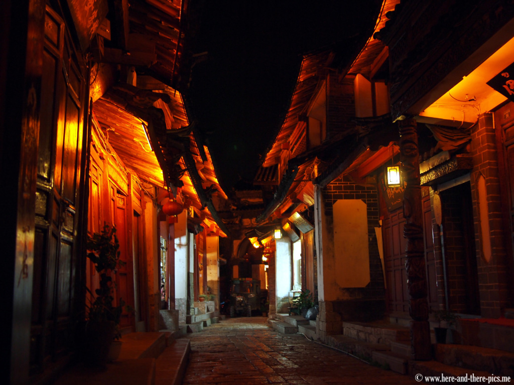 A street by night in Lijiang, China