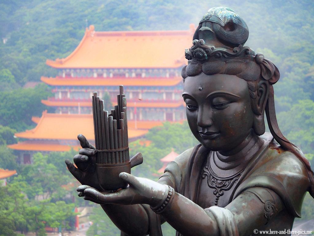 Po Lin monastery from the bronze Tian Tan Buddha